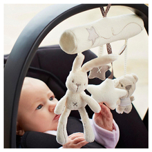 Hot Sales Mamas& Papas Musical Soft Plush Rabbit And Bear Baby Rattle Hanging Toy Stroller Star Hanging Rattle Mobile Baby Toys(China)