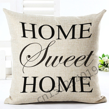 2016 New  Arrival 45x45  Fashion Style Letter Houseware Sofa Cushion Soft Pillow Cojines Almofadas Cotton Linen Square