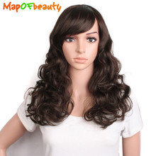 "MapofBeauty 20"" long wavy Women's Wig black dark brown Natural fringe bangs wigs for women Heat Resistant Synthetic hair peruca(China)"
