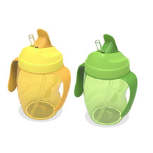 Food Grade Silicone Baby Sippy Cups Kids Drinking Bottles Infant Children Learn Drinking with Double Handles & Straw 260ml(China)