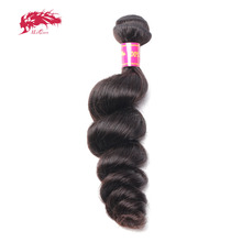 Ali Queen Hair Products Brazilian Hair Weave Bundles Loose Wave Human Hair Weaving Extensions 1 Pcs Natural Color Virgin Hair