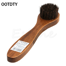 Long Wood Handle Bristle Horse Hair Brush Shoe Boot Polish Shine Cleaning Dauber Boot Shoes S Shape Shoe Cleaner(China)