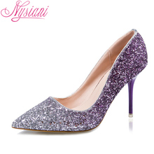 2017 New Sexy High Heel Shoes Pointed Toe Sequined Cloth Thin Heels Fashion Nightclub Wedding Shoes Purple Autumn Ladies Shoes