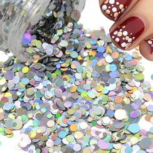 1 box Nail Art Decorations Laser Silver Dazzling Mixed 1/2/3mm Round Slice Paillettes 3d Nail Sticker Beauty Glitter Flakes P36