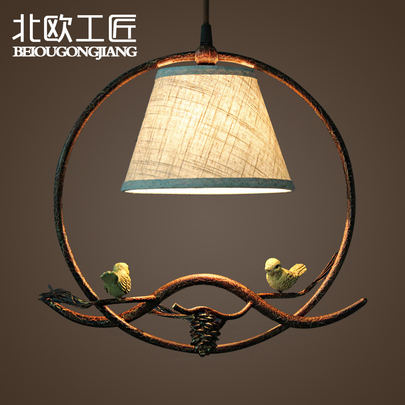 Pendant Lights American Style Birds Statue Pendant Lamps Round Vintage Wrought Iron Lamps For Living Room Cord Pendant Lamp<br>