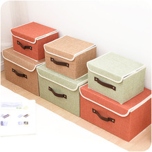 High Quality Flax Color Convenient Folding Storage Box Toy Finishing Box