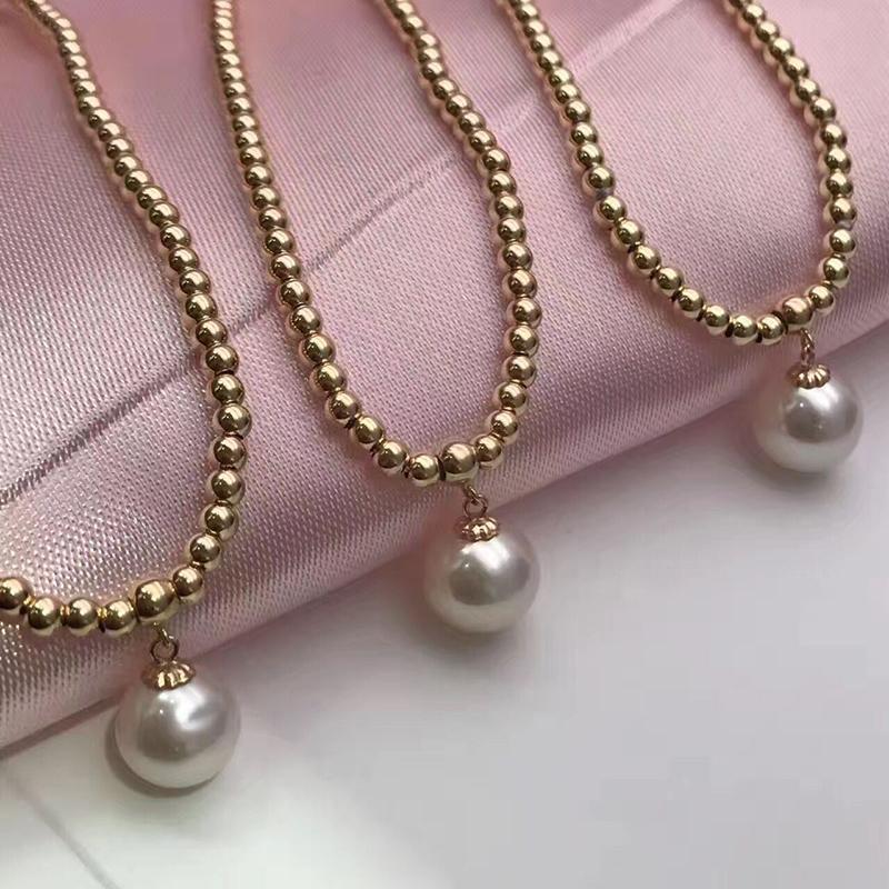 Sinya Natural pearls 18k gold beads strand bracelet for women girls Mom lover length 18cm can adjustable pearl diameter 7-8cm  (7)