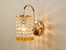 Modern Bule/Yellow Bead Wall light K9 Crystal For Bedroom Aisle Hallway Lamp E14(China)