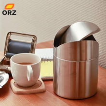 ORZ Stainless Steel Trash Bin1.5L Mini Car Dust Bin Table Ash Bin Swing Lid Kitchen Worktop Waste Rubbish Trash Can(China)