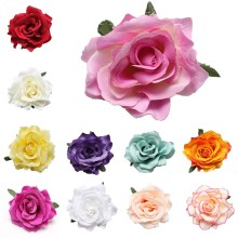 Fashion Girls 17 Colors Rose Flower Brooch Hair Pins Clips Slides Grip Wedding Hair Accessories