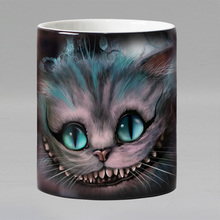 Free shipping cartoon cat Heat sensitive Coffee mug cup Porcelain Magic Color changing Tea Cups christmas gift(China)