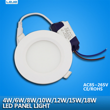 4PCS/pack led downlight  4w 6w 8w10w 12w 15w 18w led ceiling recessed grid downlight / slim round led panel light free shipping