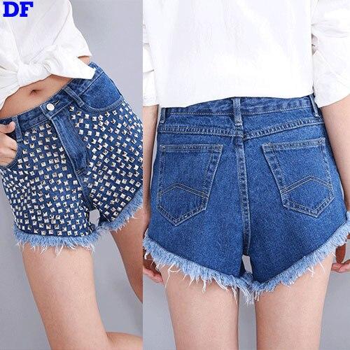 Fashion Rivet Jeans Womens 2017 High Quality Jeans Woman Sexy Tassel Pants Cotton Denim Shorts Blue Women Jeans Wholesale Big XLОдежда и ак�е��уары<br><br><br>Aliexpress