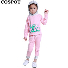 COSPOT Baby Girls Autumn 2Pcs Clothing Set Hoodies+Pants Girl Fashion Striped Suits Girl's Floral Hooded Sweatshirt 2017 New 24E(China)