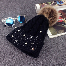 Fashion Women Lady Faux Fur Ball Crochet Knitted Hat Winter Warm Beanie Chic Cap-448E