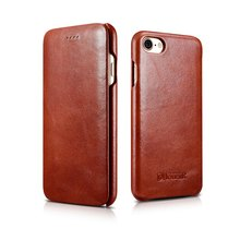 iCarer Luxury curved surface Retro Flip case for iPhone 7 Genuine Cowhide Mobile Phone bags cases