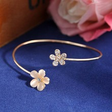 LNRRABC Fashion Golden Open Bracelet For Women Small Daisy Set drill Alloy Crystal Small Fresh Charming Jewelry(China)
