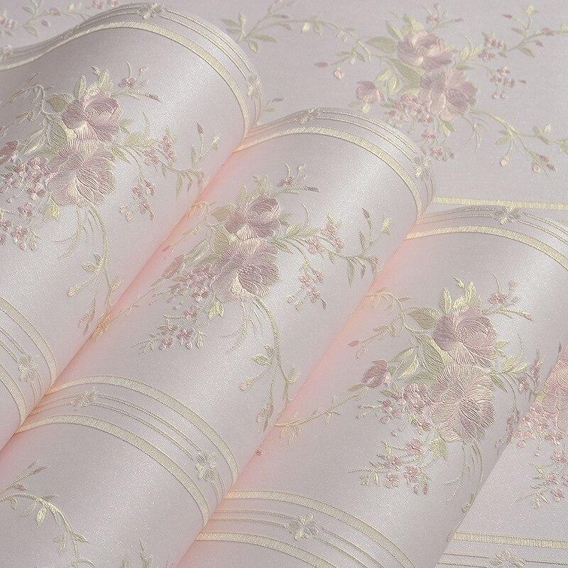 beibehang Mural Stripe Flowers Wallpaper roll Bedroom Living room Wall covering Papel De Parede 3D flooring contact-paper behang<br>