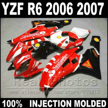 Hot sale body kit for YAMAHA R6 fairing  06 07 Injection molding red black white  2006 2007 YZF R6 fairings