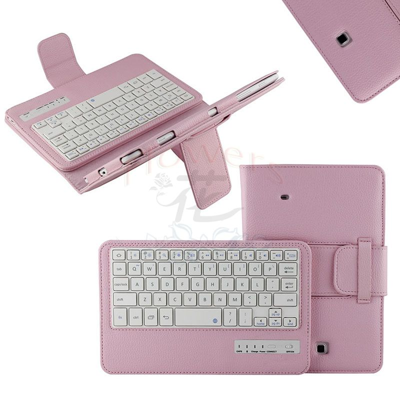 New arrive Detachable Bluetooth Keyboard Stand Case cover For Samsung galaxy tab 4 tab4 8.0 T330 SM-T330 T331 T335 - Pink<br>