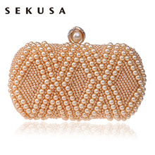 SEKUSA Beaded Women Evening Bags Pearl Imitation Handmade Diamonds Small Clutch Chain Shoulder Handbags For Wedding Party Bags(China)