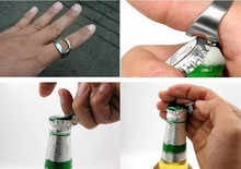 1pcs Unique Creative Versatile Stainless Steel Finger Ring Ring-Shape Beer Bottle Opener(China)