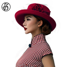 FS Winter Black Wide Brim Fedora Hats Australia Wool Women Bowler Hat Floppy Elegant Floral Mesh Gauze Ladies Bintage Cloche Cap(China)