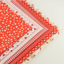 Hot Red Color Mix 7 PCS Cotton Plain Fabric Flowers/dots/check/star/strawberry Design Clothing Telas Material Home Decoration(China)