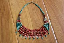 NK167 Nepal Handmade 5 Rows Brass Coral Necklace Ethnic Tibetan Bohemia Women Charm Necklace