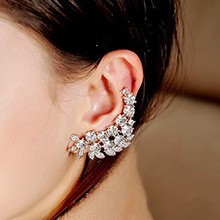 YouMap New Fashion Punk Rhinestone Leaf Earrings For Women Angel Wing Gold Earring Ear Cuff Jewelry C1R5