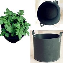 Black round fabric Pots Plant Pouch Root Container  5 Gallon 10 Gallon Grow Bags handles aeration Pot Plant Vegetable pouch