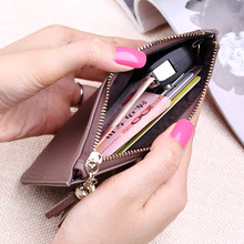 2017 New Leather Ladies Wallets Women Short Cow Leather Tassel Wallet Purses Thin Wallet Women Hand Bag Zipper Coin Purses