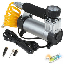 [SALE] Portable Super Flow Car Tire Tyre Inflator DC 12V 100PSI Metal Vehicle Auto Electric Pump Air Compressor(China)