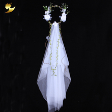 Buy XinYun Flower Head Wreath White Veil Fabric Bridal Headpiece Hairbands Wedding Hair Accessories Flower Crown Women Headbands for $6.25 in AliExpress store