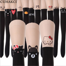 Buy CUHAKCI Spring Summer Tights New Print Black Pantyhose Eiffel Tower Cat Tail Patchwork Totoro Tattoo Women Tights Thin Pantyho