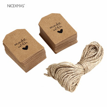 100pcs Made with Love Sign Paper Tag Wedding Party Gift Label with Twine(China)