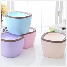 Rocking Cover Type Storage Boxes Tabletop Garbage Bin Fashionable Creative Table Storage Barrel Kitchen Mini Garbage Bin 6 Color(China)
