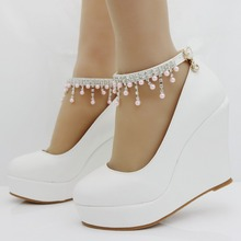 11cm women Elegant heels wedges shoes pumps pink pearl and crystal platform wedges shoes white high wedges shoes plus size 34-41(China)