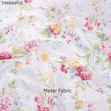 Fabric meter Green flower cotton fabric home textile tilda patchwork quilting clothing dress sewing bedding(China)