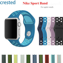 CRESTED Sport band for iwatch 2 apple watch 42 mm 38 mm strap bracelet rubber silicone watchband Adapter 7 Official colors