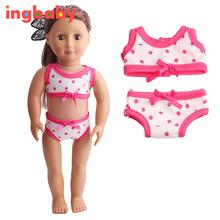 2pcs/set 18 Inch American Girl Doll Clothes Children Girl Dress Up  Barbie Doll Underwear Suit Fashion Doll Swimsuit ingbaby