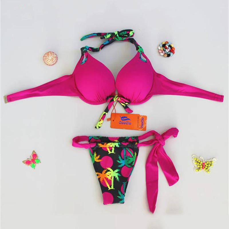 Halter Push Up Brazilian Swimsuits Sexy Bikinis Women Swimwear Ladies Beachwear Bikini Set Thong Bathing Suit XL<br>