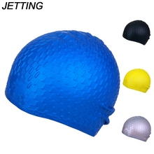 JETTING Silicone Waterproof Swim Cap/Hat for Girls Ladies Women Long Hair With Ear Cup(China)