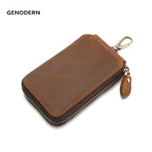 Buy Vintage Cow Leather Key Holder Men Brown Zipper Key Holder Housekeeper Keys Organizer Car Key Holders Wallets for $11.24 in AliExpress store