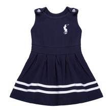 FANALA 2017 Retail Fashion Baby Girl Dress Sleeveless Kids Summer Dresses Girls Brand Dress navy blue Princess new Baby Dress