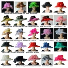 Wholesale Wide brim bridal wedding dress Organza Hat Church sinamay fascinator for derby,black,pink,navy, FREE SHIPPING BY EMS,(China)