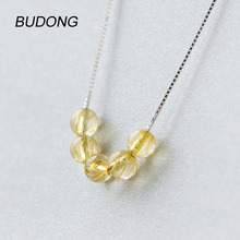 BUDONG Round Citrine Necklace For Women With 925 Sterling Silver Box Chain Fine Jewelry 45 cm and 40 cm In Length(China)