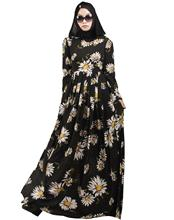 2016 new design high quality abayas printing chiffon muslim flowers islamic dress turkish traditional dress for women