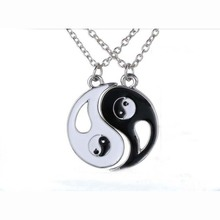 KUNIU 1Pair Charm Lovers Necklace Hot Yin Yang Pendant Necklace Black White Couple Jewelry Gift