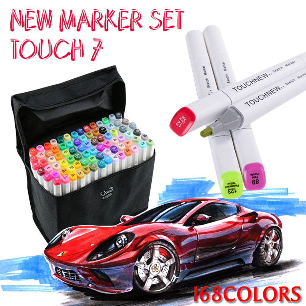 TOUCHNEW 7th 30 40 60 80 Colors Square Body Art Marker Set Dual Headed Sketch Marker Pen For Drawing Manga Animation Art Supplie<br>